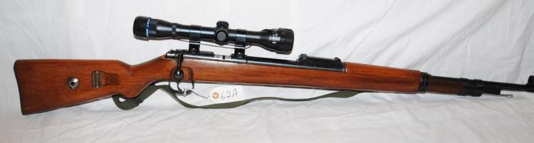 NORINCO MAUSER .22 CAL BOLT ACTION TRAINING RIFLE WITH BEEMAN BLUE RIBBON SCOPE - LEATHER SLING - N.A.C. RIDGEFILED N.J. - SERIAL # 9100428