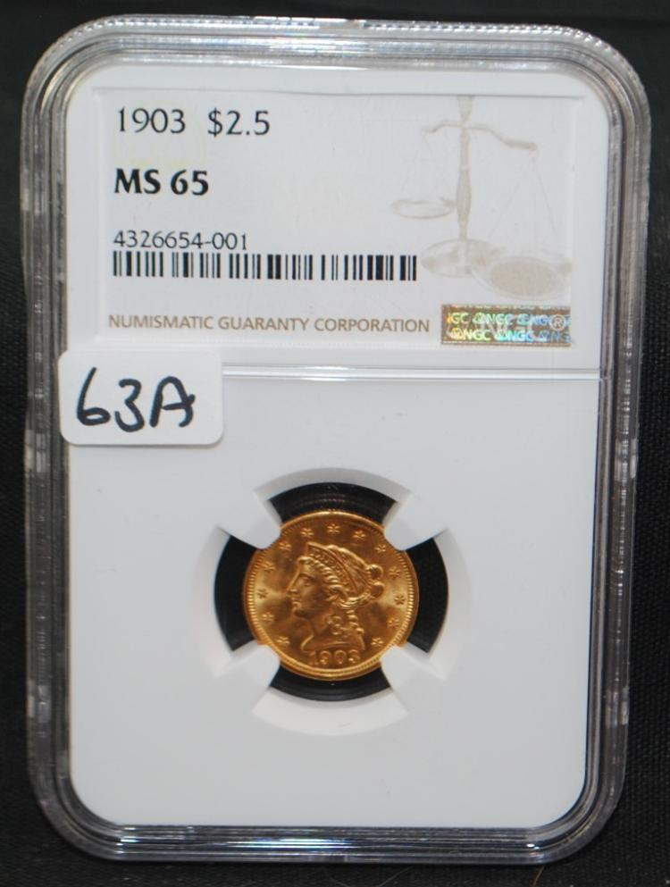 SCAREC DATE $2 1/2 LIBERTY GOLD COIN - NGC MS65 - NGC PRICE GUIDE LISTS AN MS65 AT $1,375.00.