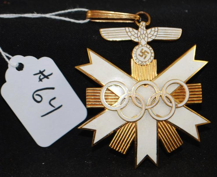 1936 OLYMPIC MEDAL - BRASS WITH EAGLE AND SWAZIKA AND ENAMEL WHITE INLAY - 1ST CLASS NECK CROSS