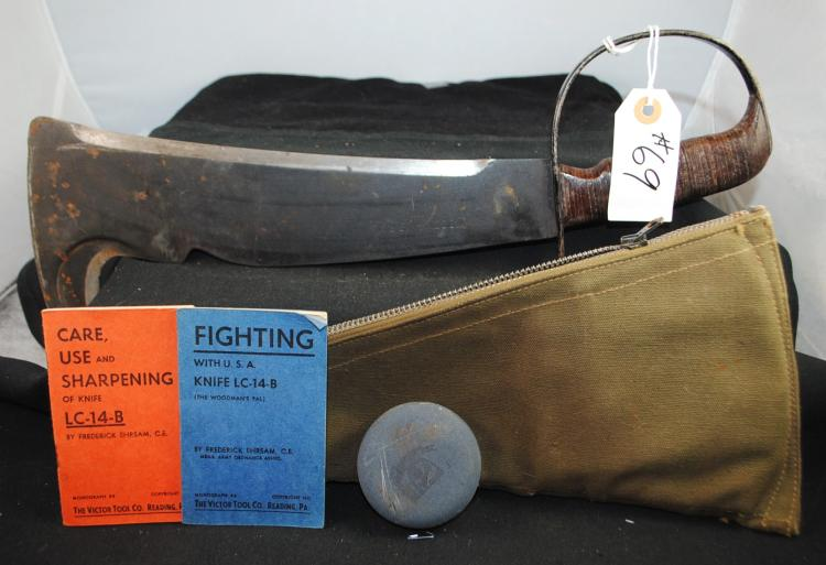 WOODSMAN PAL FIGHTING KNIFE AND SHEATH - MARKED VICTOR TOOL CO. READING PA, #280 - STAMPED