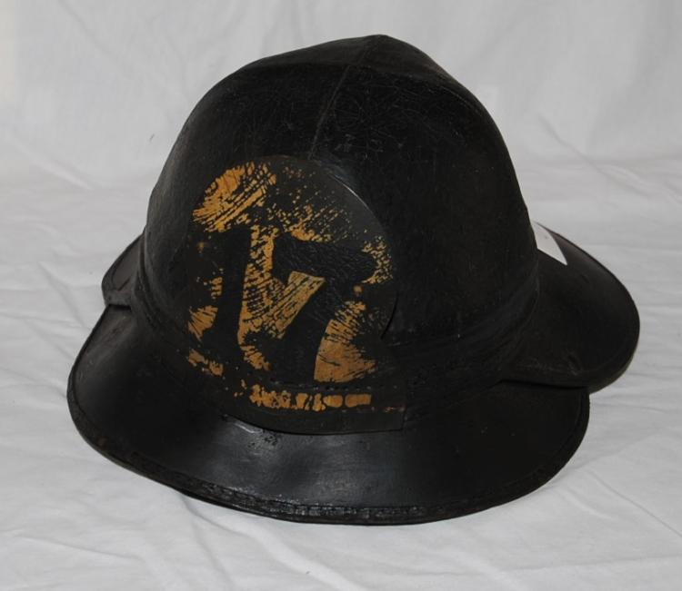 RARE EARLY ORIGINAL LEATHER FIREMANS HELMET  #17 - ONLY ONE I;VE EVER SEEN WAS IN A  MUSEUM!