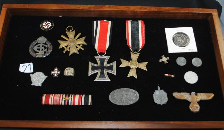GERMAN WW II MEDALS (IRON CROSS), TINNIES, PINS, COIN, RING ETC