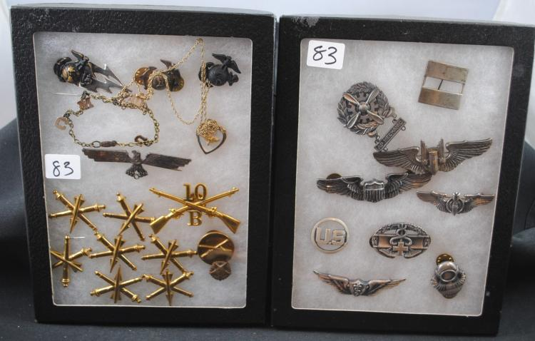 TWO DISPLAYS OF AMERICAN MILITARY PINS ETC
