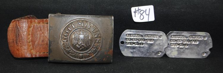 WW II GERMAN NAZI BELT BUCKLE & DOG TAGS