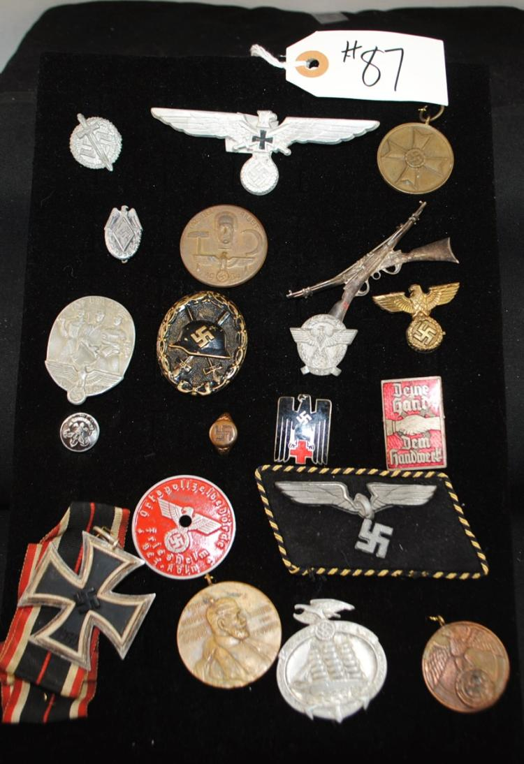 20 WW II GERMAN PINS, MEDALS, PATCH RING ETC