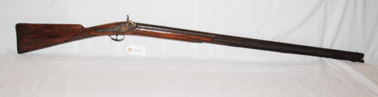 HAWKINS STYLE 69 CAL RIFLE - 19TH CENTURY  CONVERTED FROM A FLINT LOCK - ENGRAVED METAL  - FROM THE EDWIN MUELLER COLLECTION OF  ANTIQUE FIREARMS