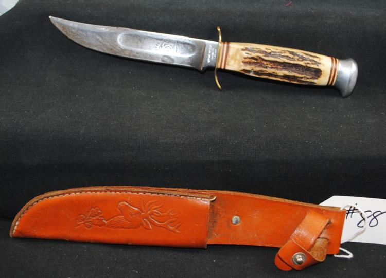 RED MAC OVERLAND SOLINGEN GERMANY HUNTER KNIFE WITH DEER EMBOSSED SCABBARD