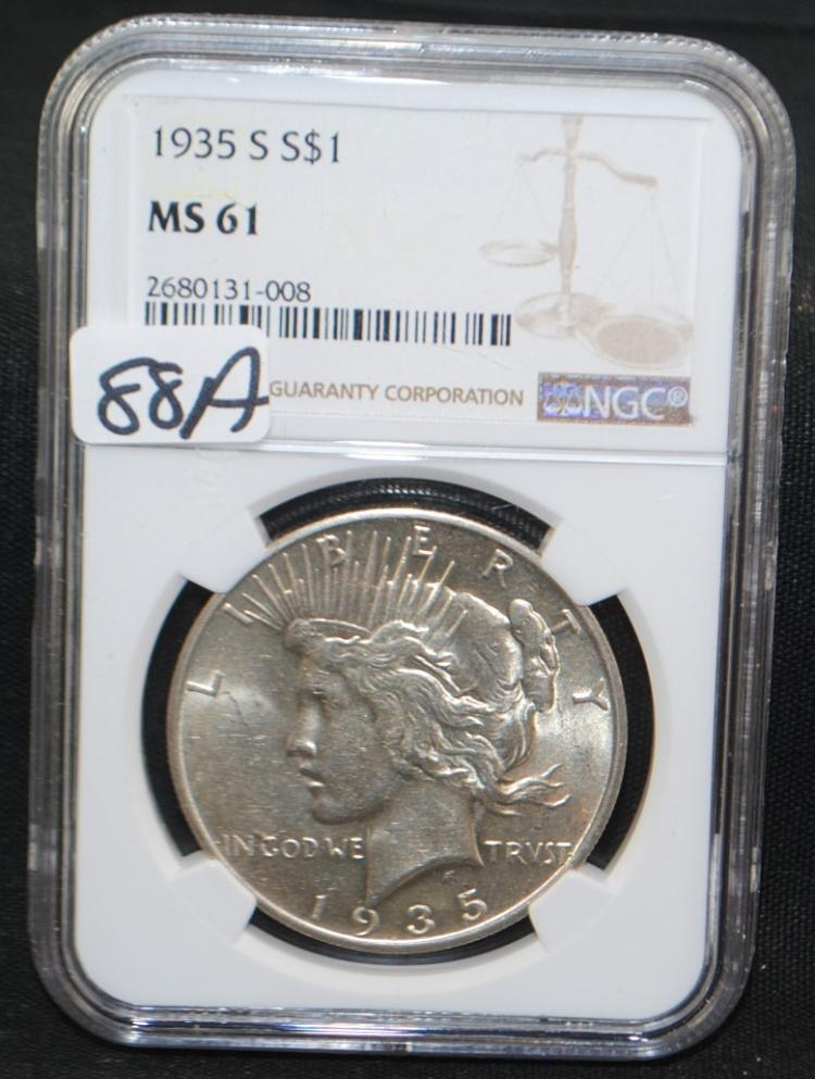 KEY DATE 1935-S PEACE DOLLAR - NGC MS61 - NGC PRICE GUIDE LISTS AN MS61 @ $320.00.