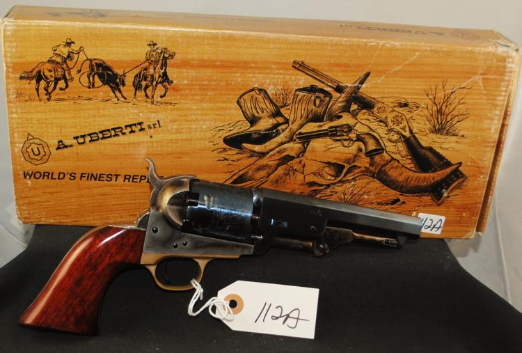 NEW IN BOX REPLICA 1851 COLT NAVY .36 CAL PERCUSSION - 5 INCH BARREL - 1843 NAVAL SCENE ETCHED IN CYLINDER - SERIAL # A29987