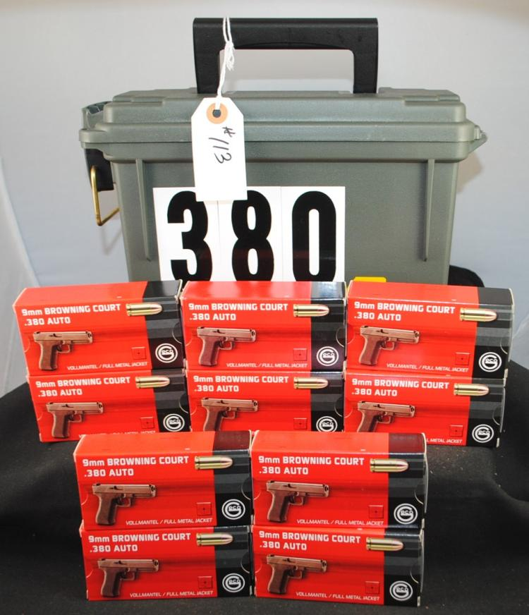 500 ROUNDS OF GECO 380 ACP AMMO WITH AMMO BOX