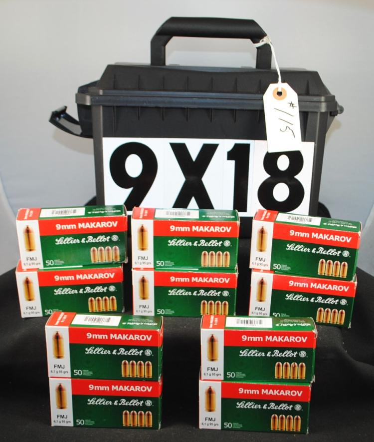 500 ROUNDS OF 9X18 MAKAROV AMMO & AMMO BOX