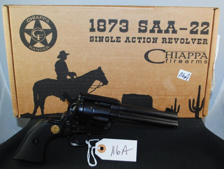 NEW IN BOX CHIAPPA 1873 SA ARMY .22 CAL  REVOLVER - 4 3/4 INCH BARREL - REPLICA -  SERIAL # 13N40576 - GREAT SHOOTING PIEC