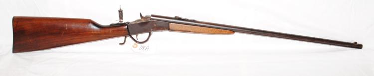 PAGE - LEWIS C-OLYMPIC 22 LR DROP BLACK RIFLE - RARE 24 INCH BARREL - TAKE DOWN WALNUT STOCK - REAR PEEP SIGHT - 2 FRONT SIGHTS - OVERALL NICE GUN IN NATURAL PATINA