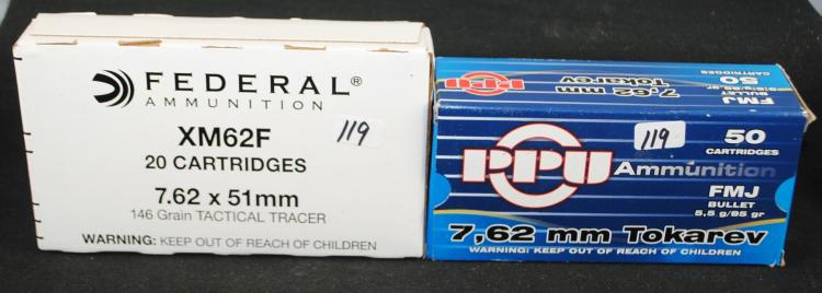 ONE BOX OF 50 762X25 TOKAREV AMMO AND BOX OF  20 FEDERAL .308 7.62X51MM XM62F TRACER ROLLS