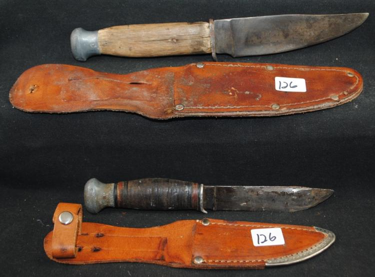 TWO - PAL REMINGTON HUNTERS KNIVES & SCABBARDS