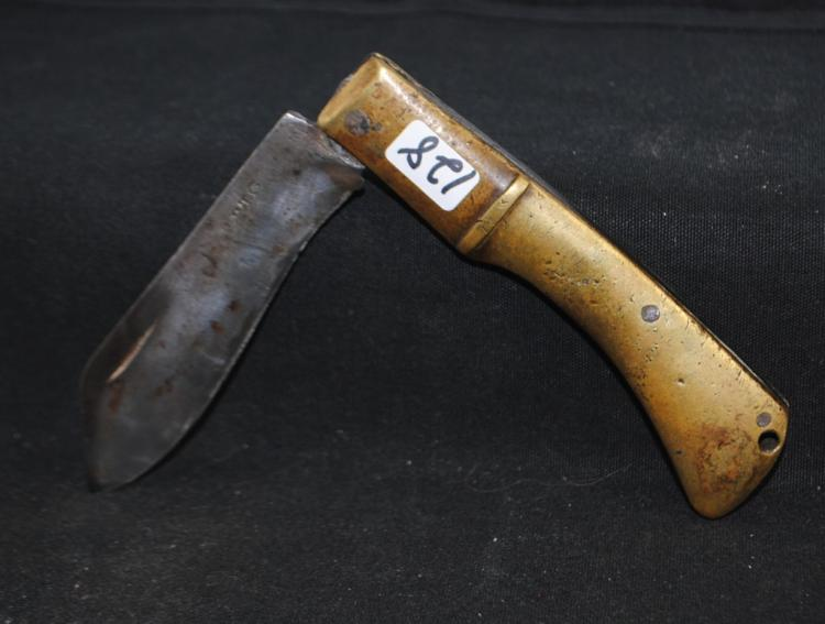 18TH CENTURY HAND MADE FOLDING KNIVE BRASS  HANDLE