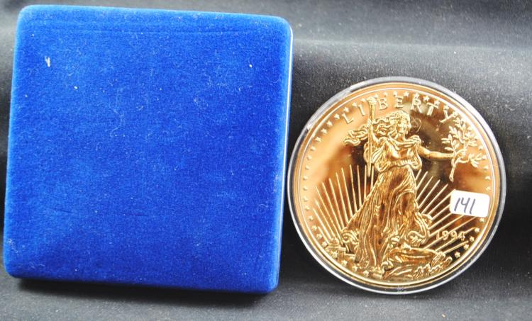GOLD PLATED 1/2 LB .999 FINE SILVER EAGLE IN  DISPLAY CASE