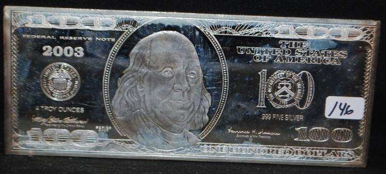 2003 $100 FRANKLIN 4 OZ .999 SILVER BAR