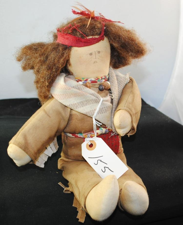 NATIVE AMERICAN DOLL MADE OF BISON HAIR,  BEADS ETC