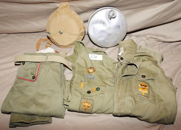 VINTAGE BOY SCOUT ITEMS - CANTEENS, UNIFORM WITH PINS ETC