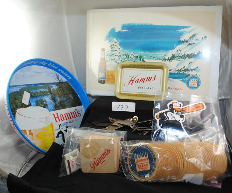 TRAY OF HAMM'S BEER COLLECTIBLES - HAMM'S BEER COASTERS - PLACE MATS - BEER TRAY - BOTTLE OPENERS ETC