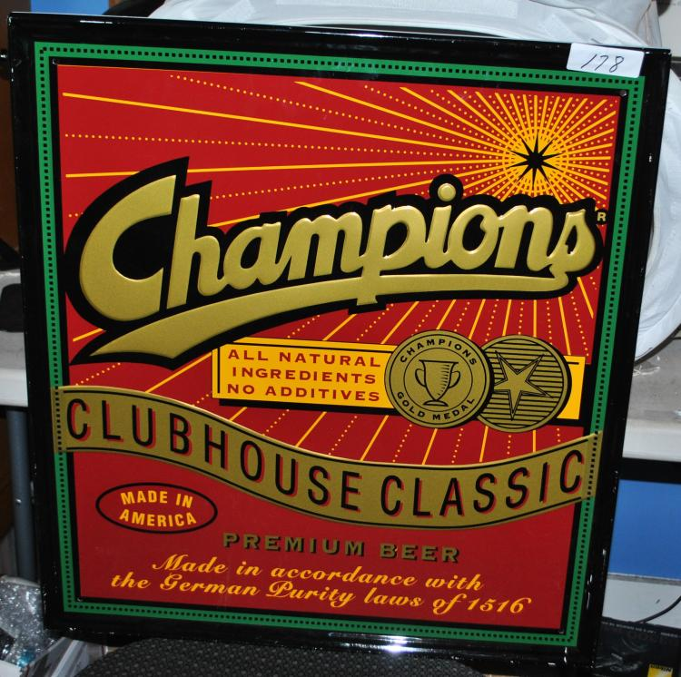CHAMPIONS CLUBHOUSE CLASSIC BEER SIGN