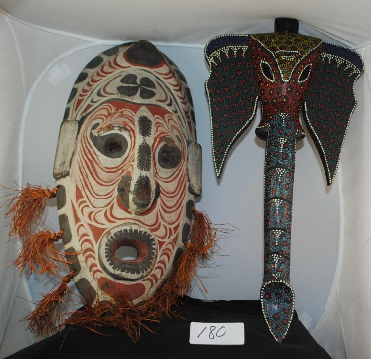 2 AFRICAN CEREMONIAL HAND PAINTED MASKS