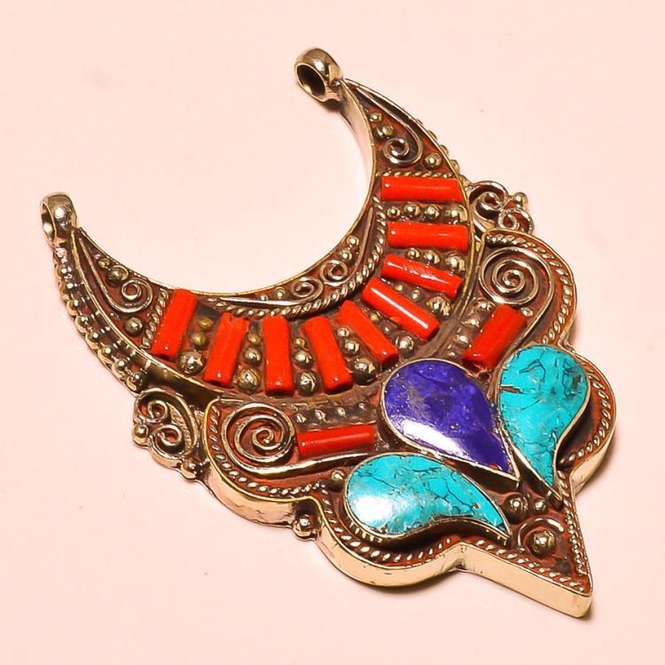 Turquoise Coral Amp Lapis Tibetan 925 Silver Bib Pendant