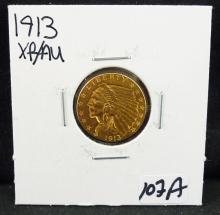 1913 XF/AU $2 1/2  INDIAN HEAD GOLD COIN