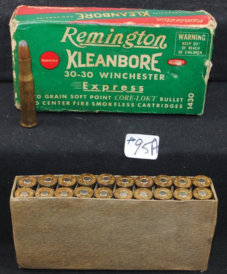BOX OF REMINGTON XLEANBORE 30-30 WINCHESTER CARTRIDGES