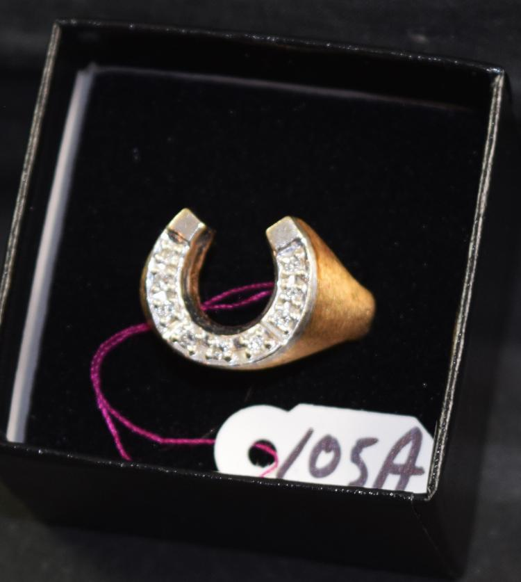 Men 39 s 14k stamped yellow and white gold diamond horseshoe for Diamond stamp on jewelry