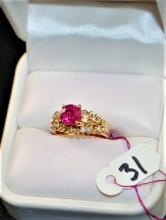 LADIES 1.24CT RUBY & DIAMOND 18K YELLOW GOLD RING