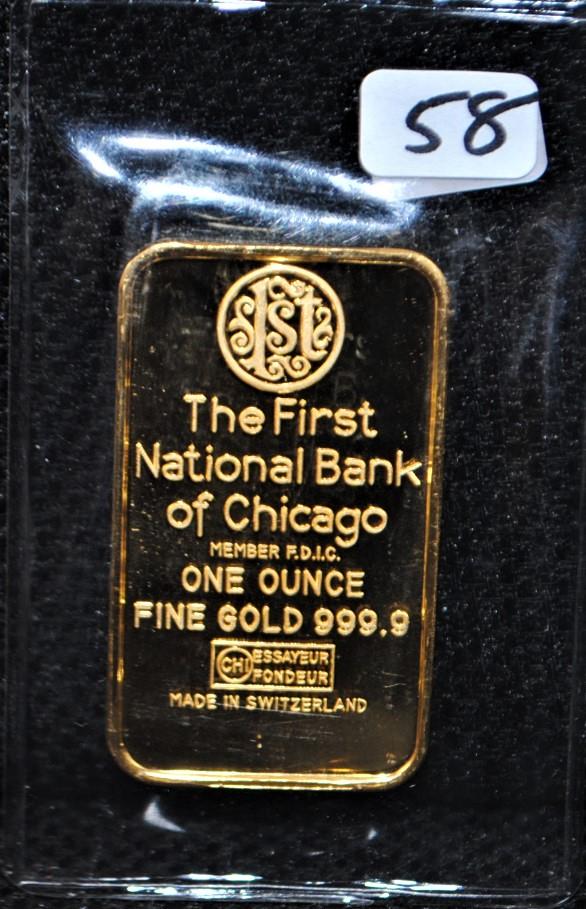 lot 58 1st nat 39 l bank of chicago 1 oz 9999 fine gold bar