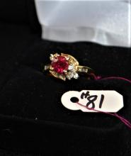 LADIES 18K YELLOW GOLD RUBY & DIAMOND RING