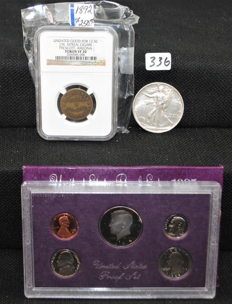 1987 LIBERTY 1 OZ SILVER COIN & CIGARS TOKEN