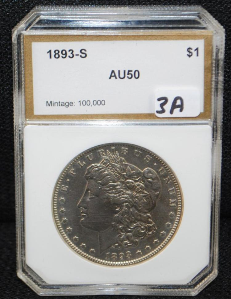 EXTREMELY RARE 1893-S AU50 MORGAN DOLLAR
