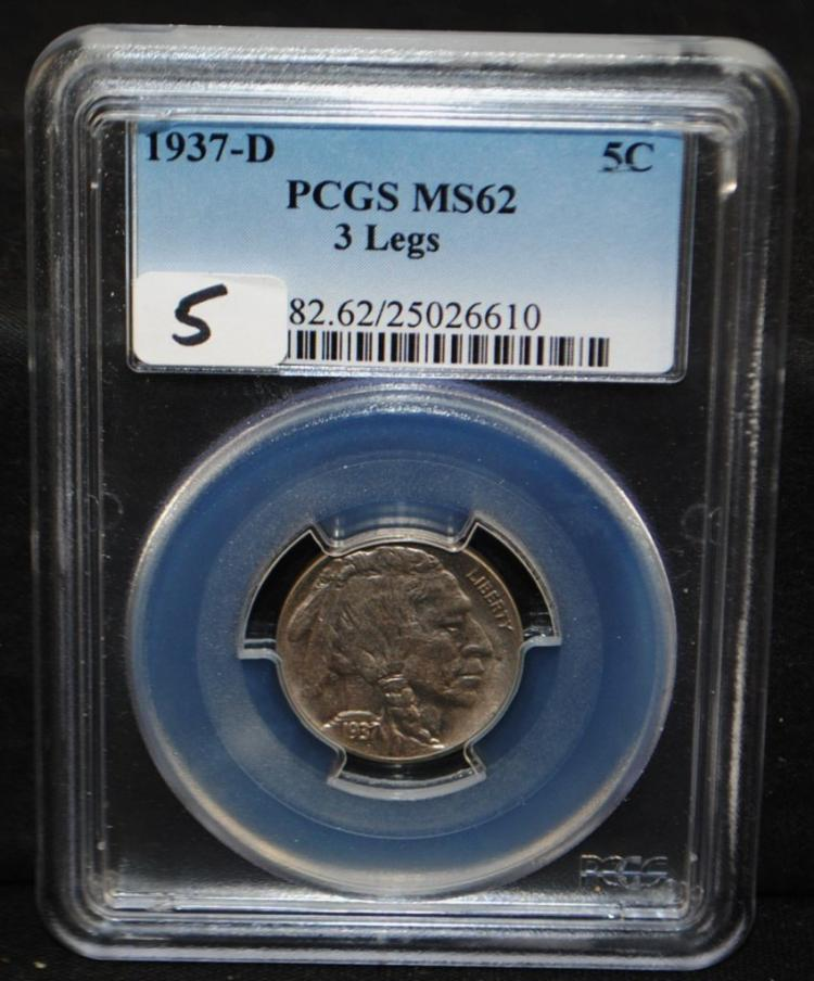 KEY 1937-D 3-LEGS BUFFALO NICKEL - PCGS MS62