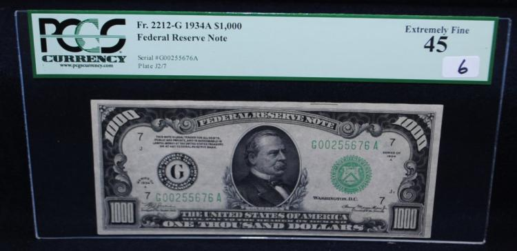 RARE $1000 FEDERAL RESERVE NOTE - PCGS EF45