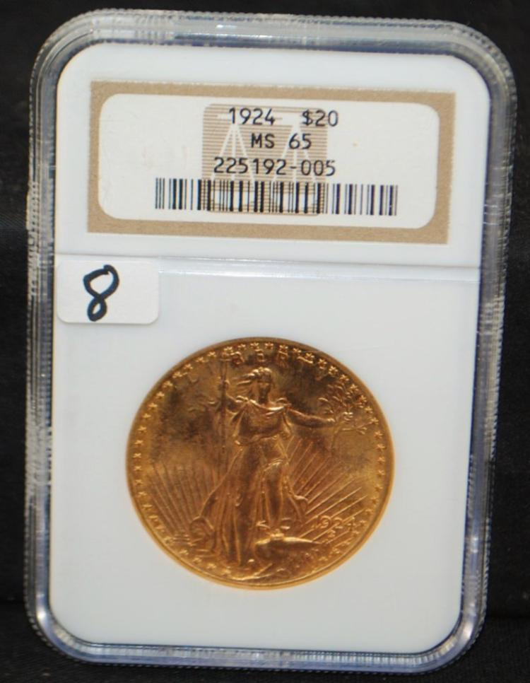SCARCE 1924 ST. GUADENS GOLD COIN - NGC MS65