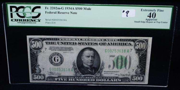 SCAREC $500 FEDERAL RESERVE NOTE - PCGS EF40