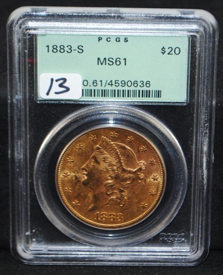 1883-S (RARE MINT) $20 LIBERTY GOLD - PCGS MS61