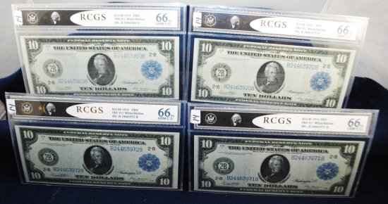4 EXTREMELY RARE $10 FEDERAL RESERVE NOTES