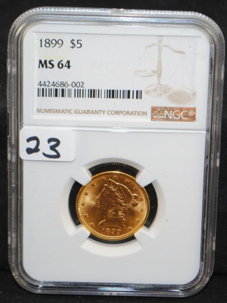 1899 $5 LIBERTY GOLD COIN - NGC MS64