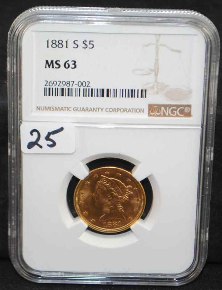 1881-S $5 LIBERTY GOLD COIN - NGC MS63