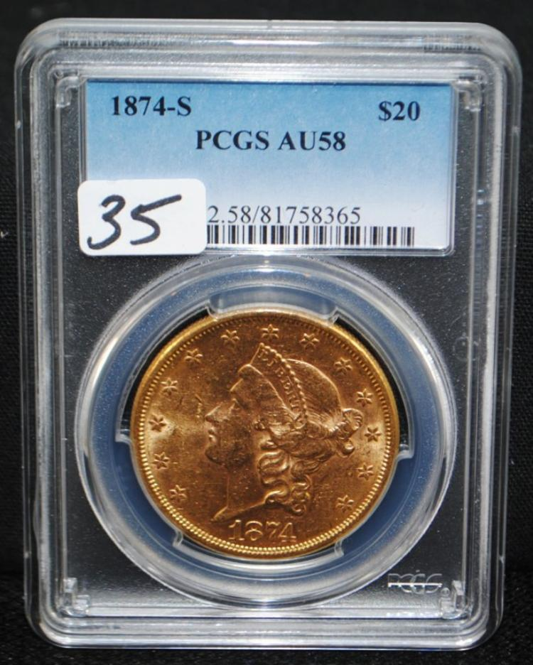SCARCE 1874-S $20 LIBERTY GOLD COIN - PCGS AU58