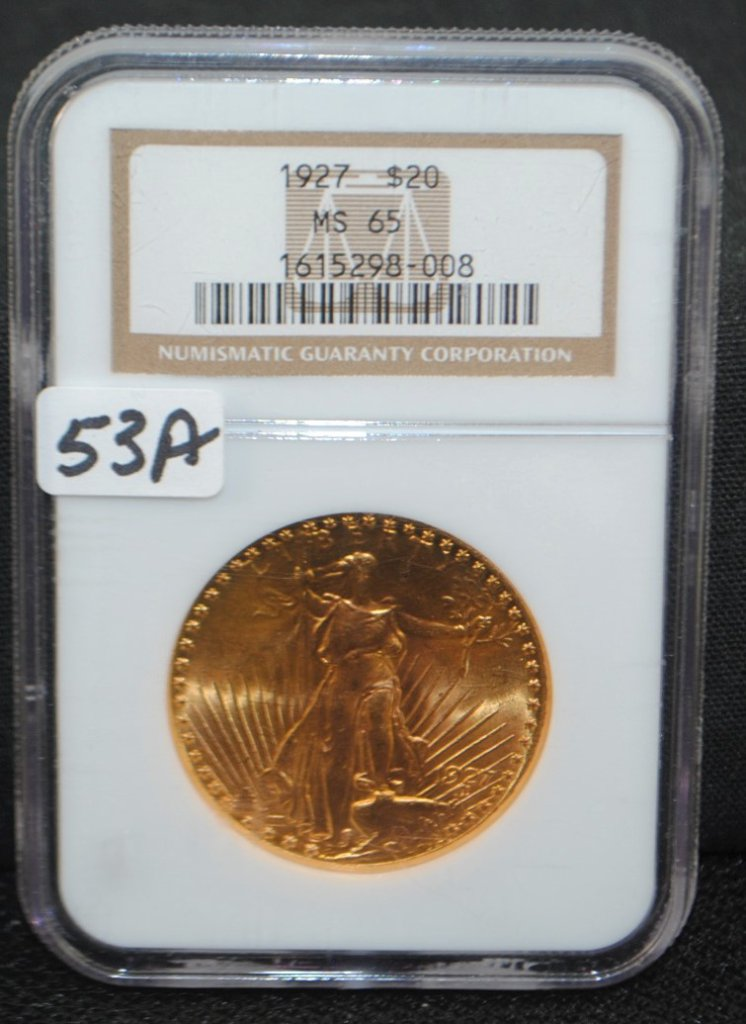 SCARCE 1927 $20 SAINT GAUDENS GOLD - NGC MS65