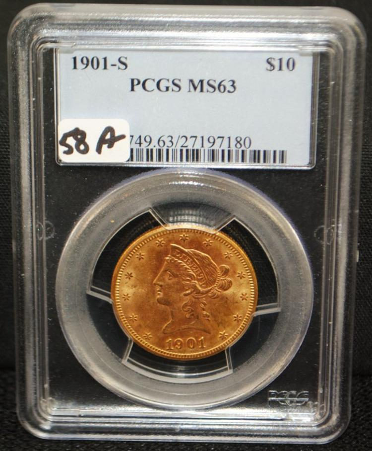 SCARCE 1901-S $10 LIBERTY GOLD COIN - PCGS MS63