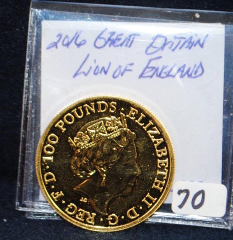 2016 $100 POUND 1 OZ .9999 GOLD COIN