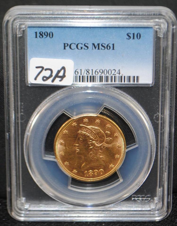 1890 $10 LIBERTY GOLD - PCGS MS61 (SCARCE DATE)
