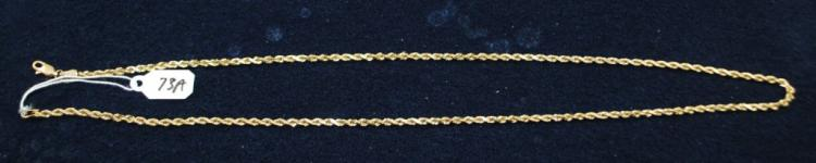 14K (STAMPED) YELLOW GOLD ROPE NECKLACE. THE NECKLACE IS 23 INCHES IN LENGTH. TOTAL METALWEIGHT: 15.5 GRAMS. THE TOTAL RETAIL REPLACEMENT VALUE: $2,150.00. AND COMES WITH THE APPRAISAL FOR INSURANCE PURPOSES.